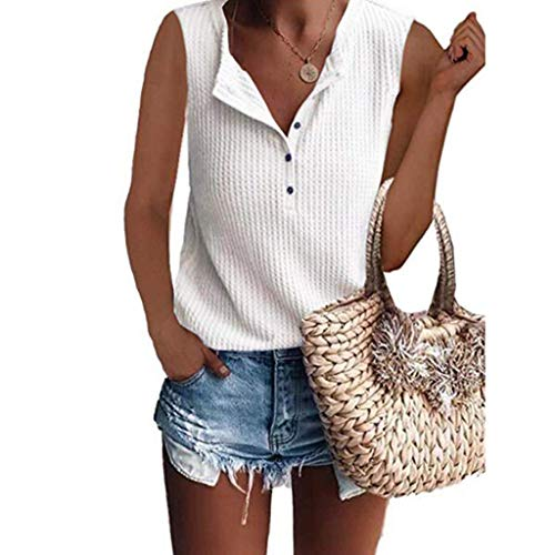 HIRIRI Women's Tank Top Waffle Knit Tunic Vest Loose Sleeveless Button Up V Neck Henley Shirts ()