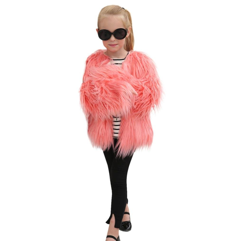 Girl Faux Fur Coat, vmree Fur Autumn Winter Warm Jacket Girls Thick Clothes (6T, Pink)