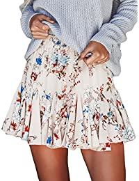 Women Chiffon Floral Printed Pleated Mini Skirts for Summer