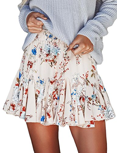Gogoboi Women Chiffon Floral Printed Pleated Mini Skirts for Summer (M, Beige)