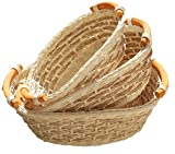 ShopOnNet RT450110-3 Handwoven Wicker Storage Basket Curve Pole Handle in Cream Sand (Set of 3)
