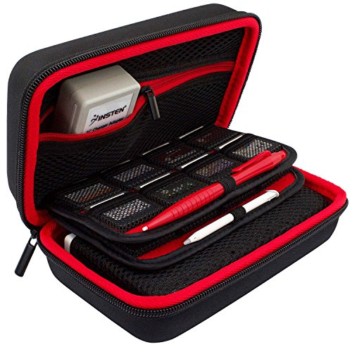 New 3DS XL Case by TAKECASE - Compatible with New 2DS XL - Travel Carrying Case Includes XL Stylus, Protective Hard Shell, 16 Game Storage, Accessories Pouch - Red/Black [UPDATED FEB 2018]