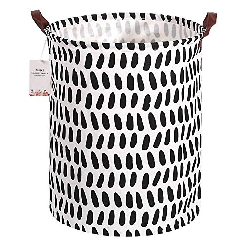 Large Storage Baskets with Leather Handles 19.7 x 15.7 Inch, ZUEXT Round Cotton Fabric Storage Bin, Waterproof Collapsible Clothes Laundry Hamper, Toy Storage Bin for Kids, Baby Nursery(Black Spots)