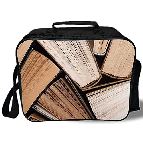 Insulated Lunch Bag,Abstract Home Decor,Pile of Old Books Research Reading Library Education Literature Theme Picture,Brown Beige,for Work/School/Picnic, ()