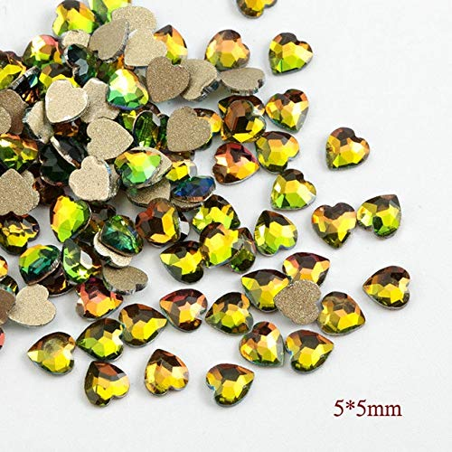 (Nail Art Accessories - 20pcs Flame Series Glass Rhinestones Charm 3D Nail Decorations Glue On Nails Rhinestone - R01 5x5 Heart )