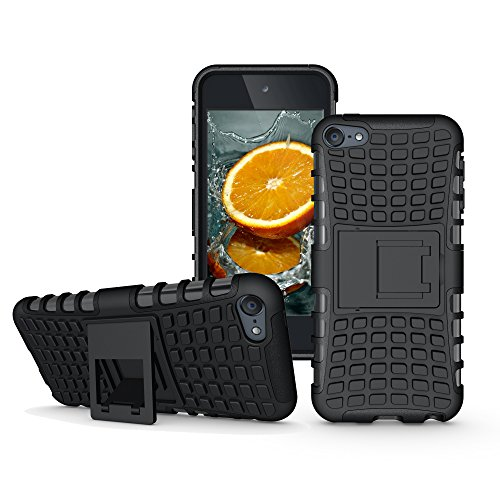 eneration Case with Kick Stand, Hybrid Heavy Duty Cover, Slim Fit Rugged Bumper Cases with Kickstand for Apple i Pod Touch 6 th 5 th (Black with Stand) ()