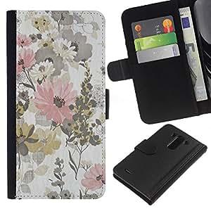iBinBang / Flip Funda de Cuero Case Cover - Modelo rústico de la vendimia del papel pintado floral - LG Optimus G3