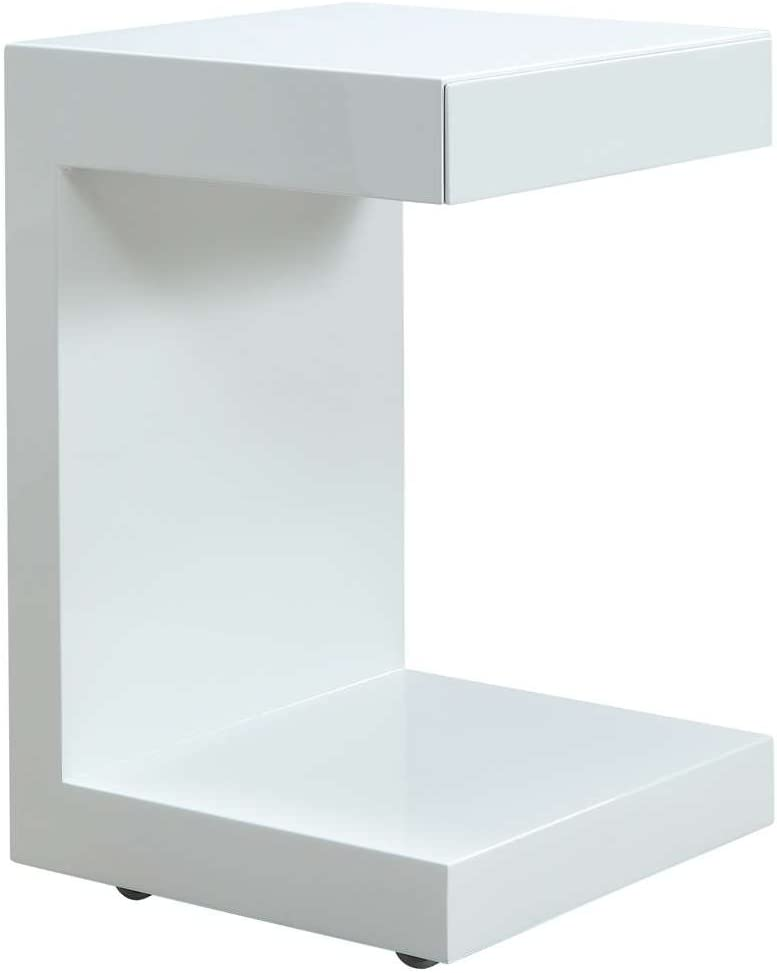 Casabianca Furniture Lino Collection Lacquer Nightstand, White