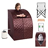 Giantex Portable 2L Steam Sauna Spa Full Body Slimming Loss Weight Detox Therapy w/Chair (Coffee)