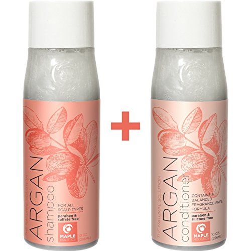 Pure Argan Oil Shampoo and Conditioner for Dry Hair - Sulfate Free Argan Shampoo for Natural Hair Growth for Men and Women - Hair Conditioner for Damaged Hair - Jojoba Almond Avocado Peach - 10 oz