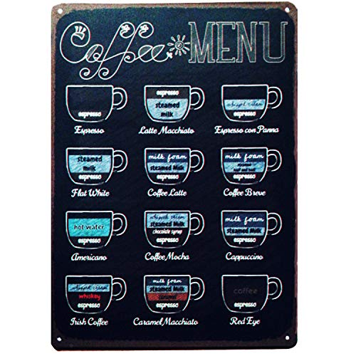 TISOSO Coffee Menu Retro Vintage Tin Sign Bar Pub Poster Metal Wall Decorative Sign for Your Home Decor, Kitchen, Coffee Bar, Cafe 12 X 8 ()