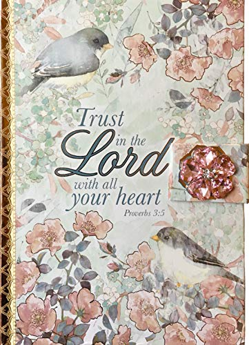 Punch Studio Hard Cover Foil Brooch Embellished Journal with Scripture ~ Trust in the Lord...Proverbs 3:5 (61645)