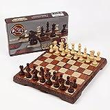 アンティーク チェス マグネット 木製風 ボードを折りたたむと収納可能 【オリジナル簡易説明書付き】 Mサイズ (24×28センチ)