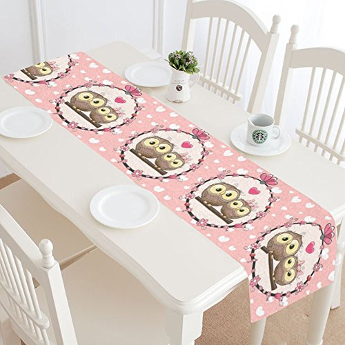InterestPrint Two Cute Owls Love Heart Polyester Table Runne