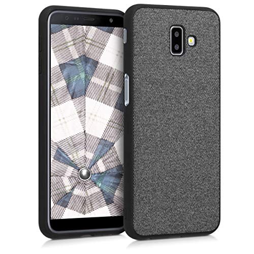 kwmobile softcase Cover for Samsung Galaxy J6+ / J6 Plus DUOS - TPU Silicone Cover case with Fabric Cover in Canvas -