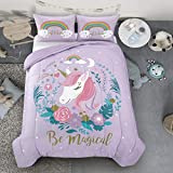 Heritage Kids Kids and Toddler Ultra-Soft Magical Unicorn and Rainbow Easy-Wash Microfiber Comforter Bed Set, Twin, Purple