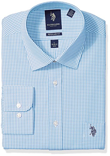 U.S. Polo Assn. Men's Regular Fit Check Semi Spread Collar Dress Shirt, Gingham Check Aqua/White, 16