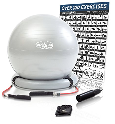 Superior Fitness 600 lb Exercise / Yoga / Stability Ball With Heavy Duty Gym Quality Resistance Bands & Pump - Improves Balance, Core Strength, Back Pain & Posture - For Men & Women