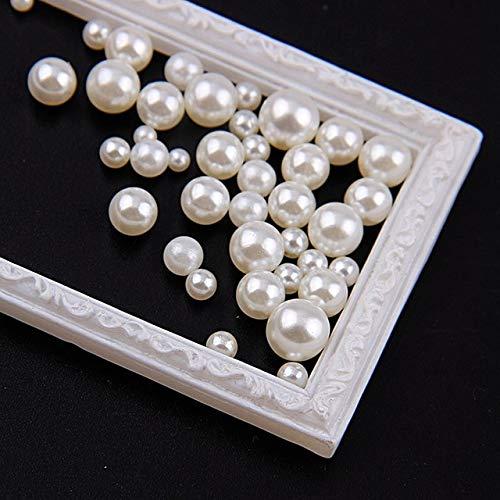 Kamas 1 Bag 3-6mm Pure White,Rice White Mix Size Imitation No Hole Pearl Round Beads For DIY Nail Art Kamas (Color: Rice White) 6 Mm White Rice