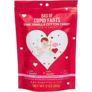Bag of Farts Cotton Candy Funny for All Ages Unique Birthday Gag Gift for Friends, Mom, Dad, Birthday Girl, Boy Grandson Granddaughter Present (Cupid Farts Pink Vanilla Cotton Candy)