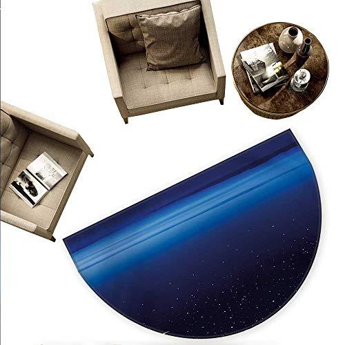 Night Half Round Door mats Moon and Stars Over Santa Barbara Channel Infinity Foggy Pacific Ocean Bathroom Mat H 63