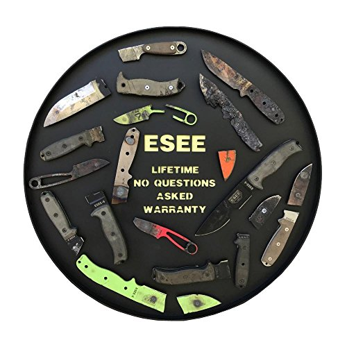 ESEE Authentic 4HM-B Fixed Blade Knife, Brown Leather Sheath, Black Powder Blade, Micarta Handle