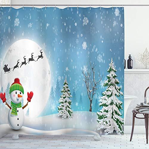 Ambesonne Christmas Shower Curtain, Cloth Fabric Bathroom Decor Set with Hooks, Reindeer Sleigh Kids, 70 Long