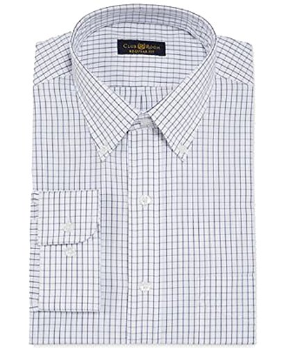 Club Room Estate Classic-Fit Wrinkle Resistant White and Blue Tattersall Dress Shirt (White and Blue, 17.5X34-35) Club Room White Dress Shirt