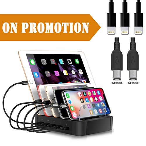 Voltage Black Baffle - Marstree 5 Port Charging Station Cell Phone Charging Hub Charger Dock Station Organizer Quick Charge Multi Phone Desktop Charging Station for Multiple Devices Iphone Ipad Kindle Tablet