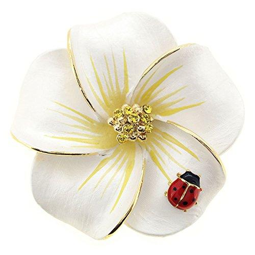 0b25635880a Fantasyard White Hawaiian Plumeria with Red Ladybug Swarovski Crystal Flower  Pin Brooch and Pendant by Fantasyard