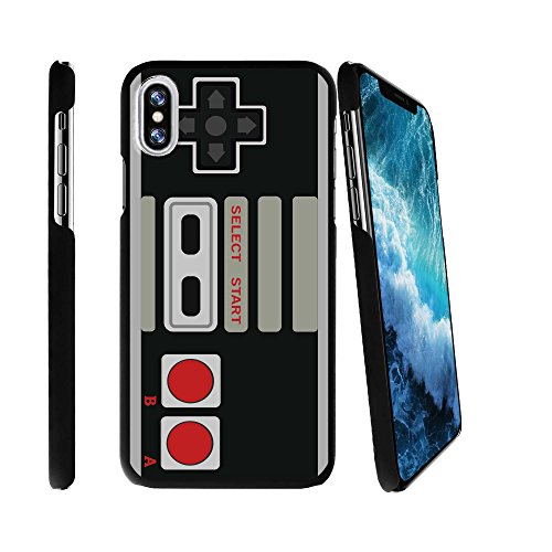 MINITURTLE Case Compatible w/ Apple iPhone X 2017 Design Case for iPhone X 2017 2017 [SNAP SHELL w/ Reinforced Snug Fit] Hard Shell Easy Install Black iPhone X 2017 Case Cover Game Controller Retro