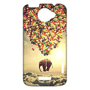 Snap on Hard Slim Cover Case Otterbox For HTC One X - Elephant And Balloon Flying Elephant String With Balloon