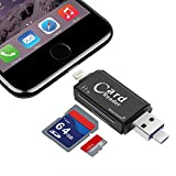 SD/Micro SD Card Reader, USB Memory Card Adapter Applicable for iPad/iOS iPhone 7 plus/7s/7/6s plus/6s/Mac PC, Moonooda Trail Game Camera Viewer Reader-Compatible with Lightning/Micro USB OTG/USB
