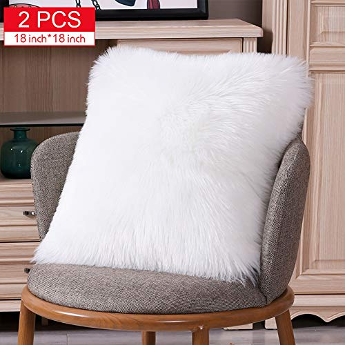 TGOOD 2 PCS Double-Sided Faux Fur Christmas Winter Throw Pillow Covers Set,Cushion Cases,Soft Soild Decorative Square,Pillowcases for Sofa Bedroom Car White 18x18 inch (Covers Sofa Throw)