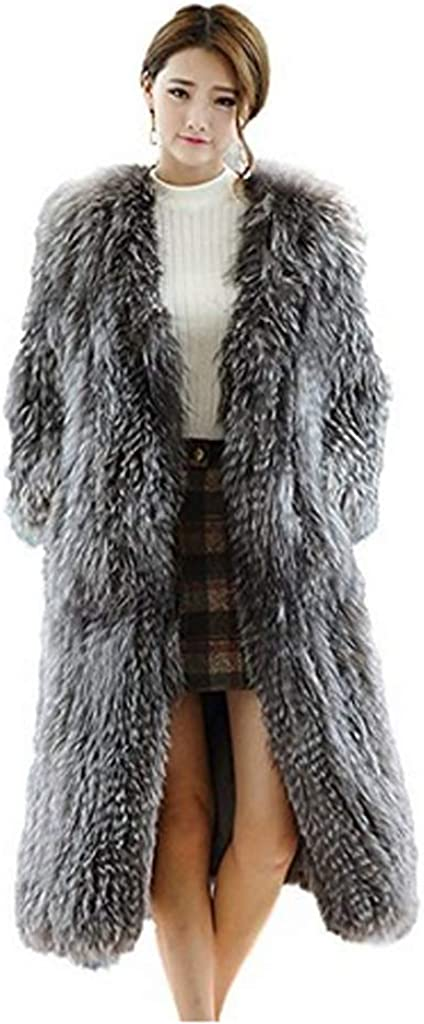 YR.Lover Womens Genuine Fox Fur Short Vests and Sheep Leather Vest