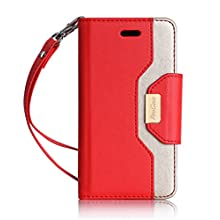 iPhone SE Case Cover, ProCase Wallet Flip Case, with Wristlet Strap, Build-in Card Slots and Mirror, Stylish Slim Stand Cover for Apple iPhone SE (Red)