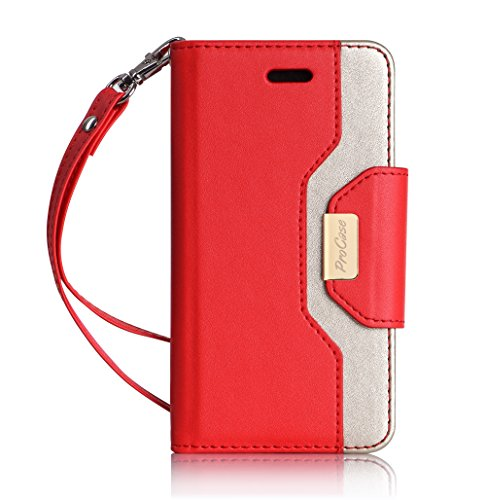 Price comparison product image iPhone SE / 5S Case Cover, ProCase Wallet Flip Case, with Wristlet Strap, Build-in Card Slots and Mirror, Stylish Slim Stand Cover for Apple iPhone SE / 5S (Red)