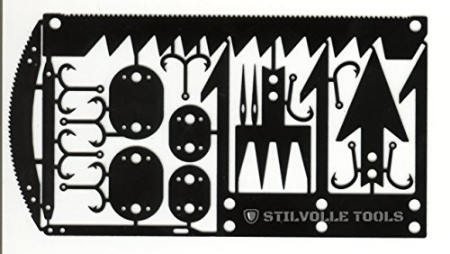 Explorer Luggage Tag (Survival card tool hook size that contains the 12 features to help survival card 12 Survival time to card size, hook small, arrowhead A, arrowhead B, STILVOLLE TOOLS (Black))