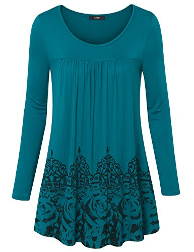 Laksmi Womens Long Sleeve Scoop Neck Casual Tunic Vintage Floral Bottom Pleated Shirts
