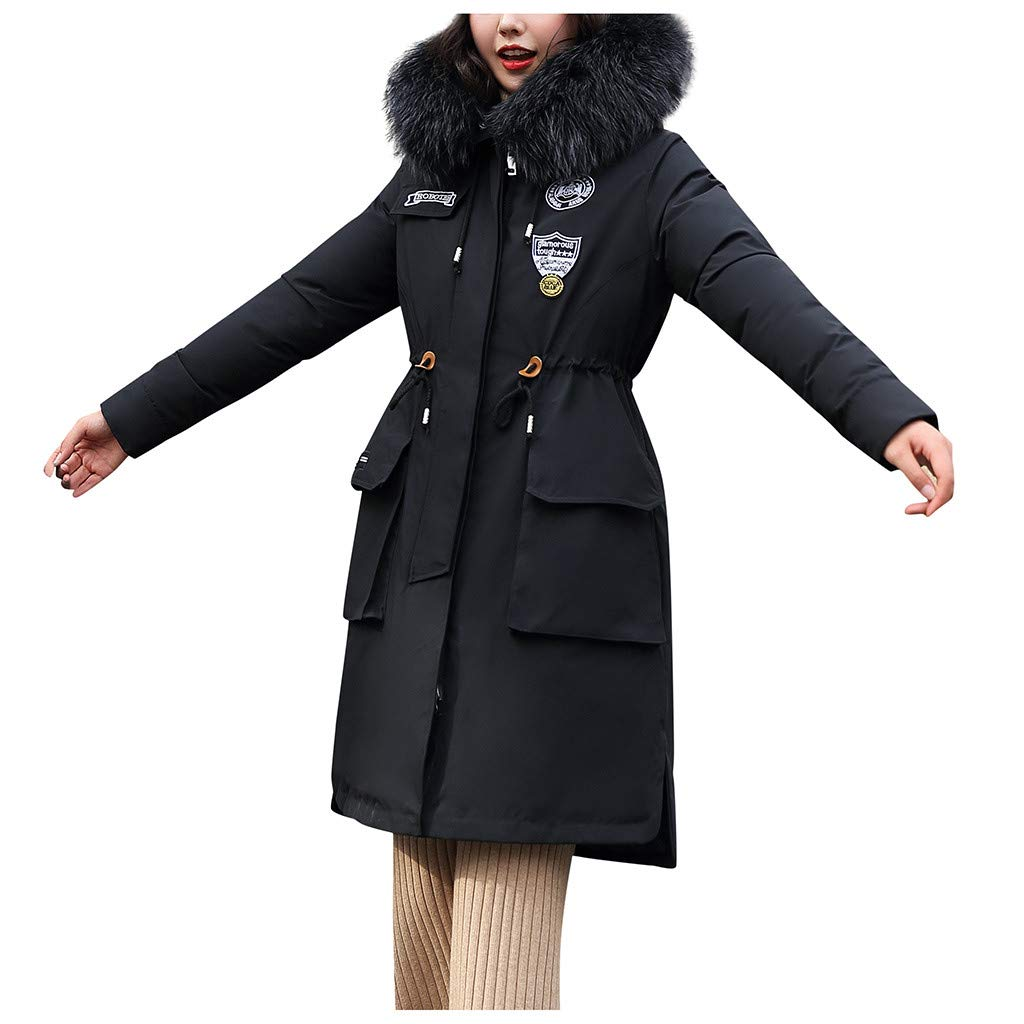 Allywit- Women Outerwear Faux Fur Hooded Button Coat Long Solid Warm Jackets Windbreaker Coats with Big Pocket Black by Allywit- Women