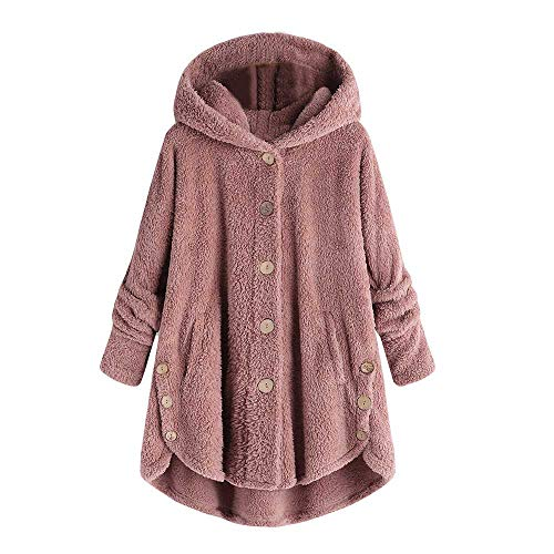 COPPEN Women Coat Button Fluffy Tail Tops Hooded Pullover Loose Sweater Pink