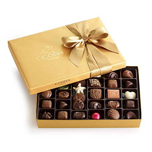 Godiva Chocolatier Gold Ballotin, Classic Gold Ribbon, Chocolate Gift Box 36 Piece