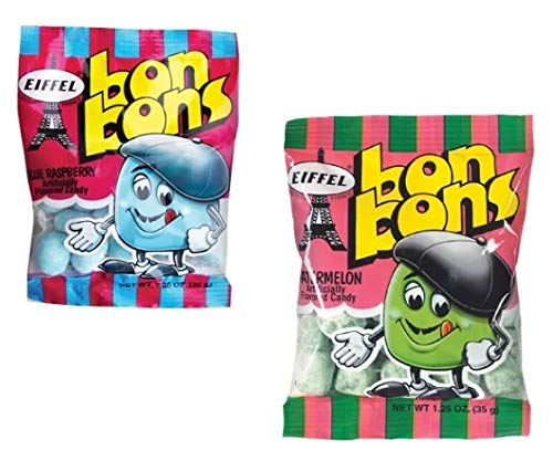 Eiffel Bon Bons 1.25oz 8 Bag Variety Snack Pack, French Candy (4 Strawberry, 4 Blue Raspberry)