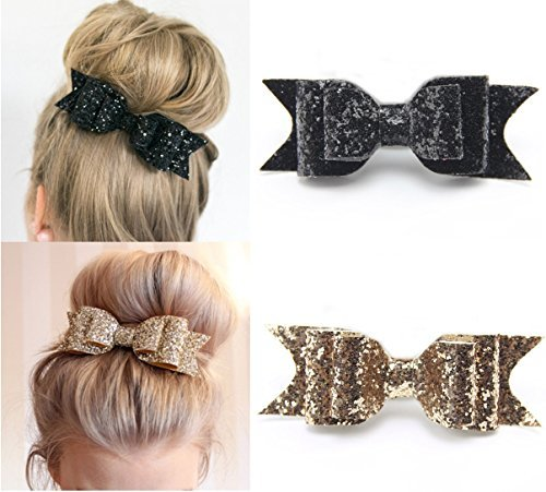 Fireboomoon 2 Pack Glitter Satin Big Bow Hair Clip Barrette Accessory For Girls and Women (Gold and Black)