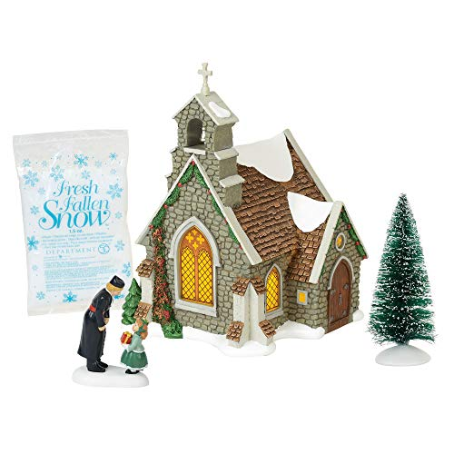 """Department 56 Dickens Village Isle of Wight Chapel Lit Building and Accessories, 8.25"""", Multicolor"""