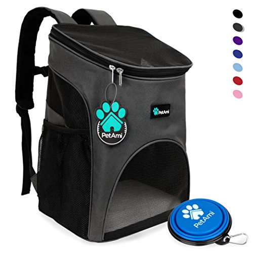 Premium Pet Carrier Backpack for Small Cats and Dogs by PetAmi | Ventilated Design, Safety Strap, Buckle Support | Designed for Travel, Hiking & Outdoor Use (Gray)