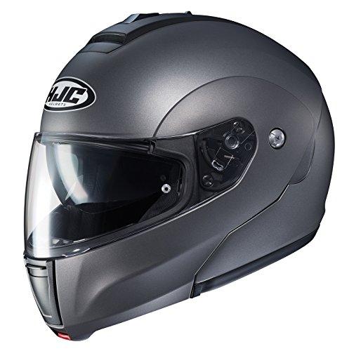 (HJC Helmets Unisex-Adult flip-up-Helmet-Style CL-MAX3 Semi Flat Titanium Large)
