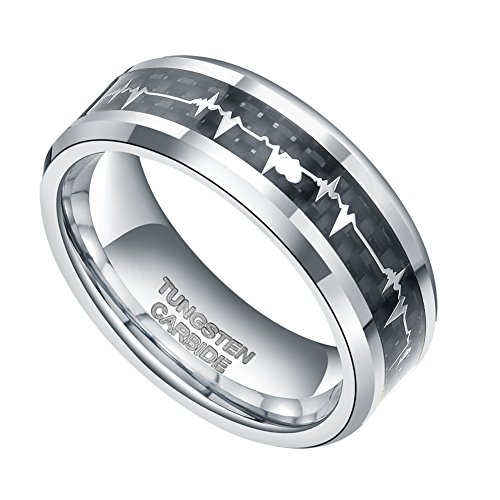 8mm Silver Tungsten Carbide Wedding Ring with Free Gift Box EKG Heart Beat Carbon Fiber Inlay (12)