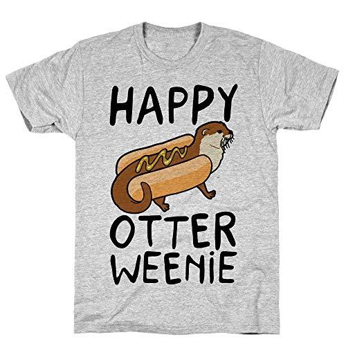 LookHUMAN Happy Otterweenie Small Athletic Gray Men's Cotton -