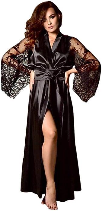 d3f147bfdb BaZhaHei Women Long Nightdress Silk Lace Pajamas Robe Lingerie Nightgown Sleepwear  Kimono Dressing Gown Wedding Bridesmaid Bathrobe Nightwear  Amazon.co.uk   ...
